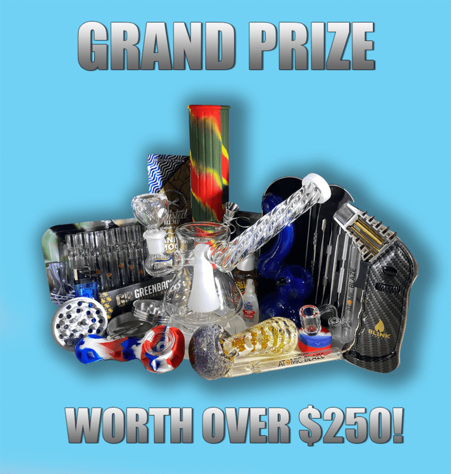 TNMNews x Atomic Blaze 420 Giveaway and Contest - Enter to Win for Free! grand prize features incredible smoking essentials like thick glass smoke pipes, water pipe oil rigs, rolling papers, metal grinders, one hitters and a big bong.