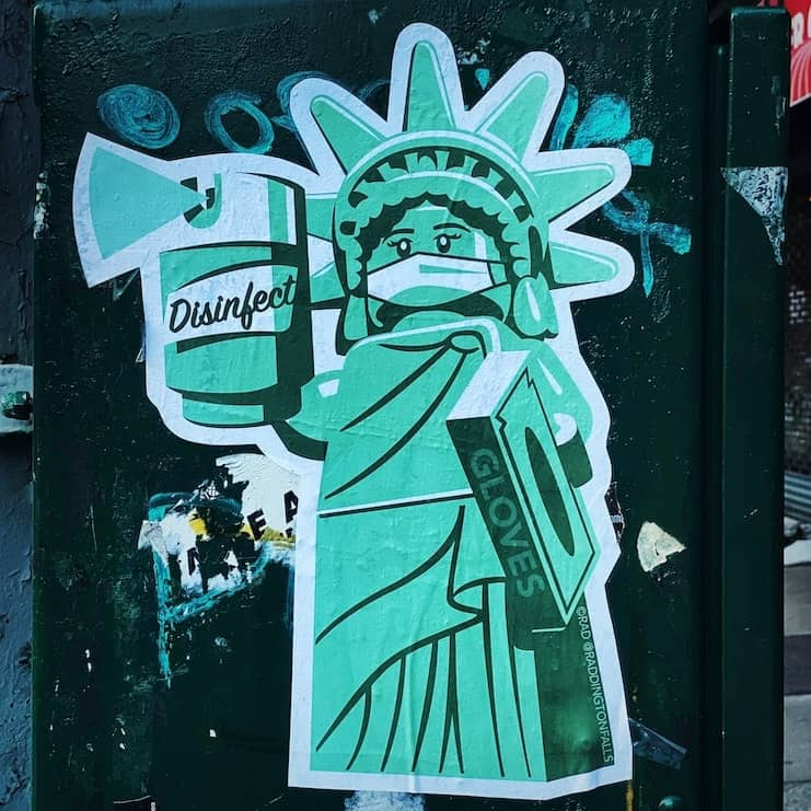 Even Lady Liberty knows to wear a mask, socially distance and have solo weed sessions.