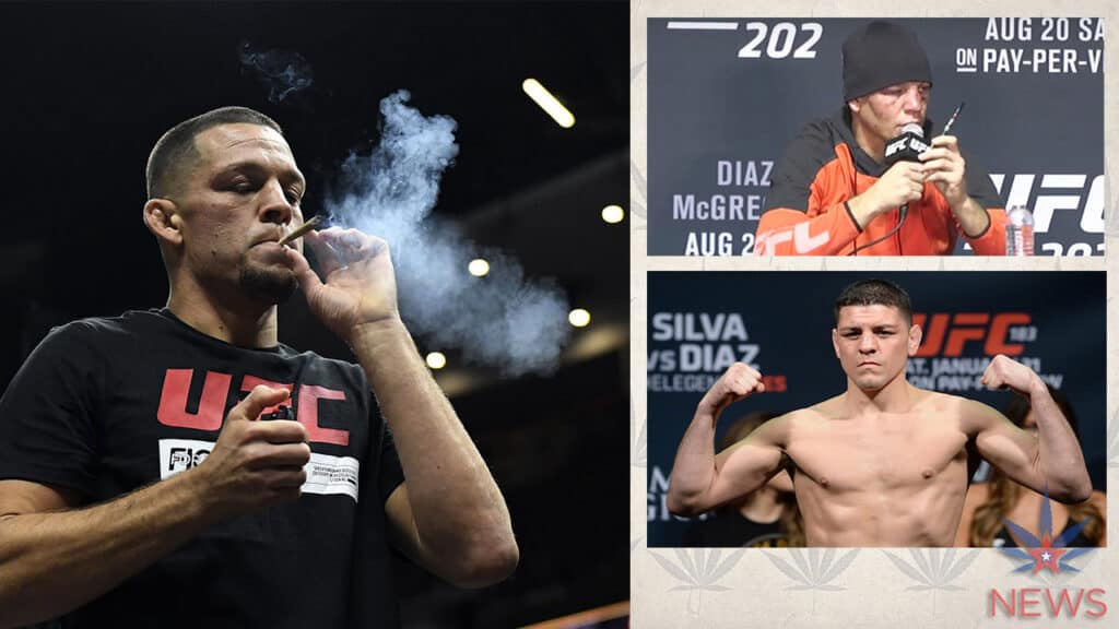 Nate Diaz of the UFC smokes weed