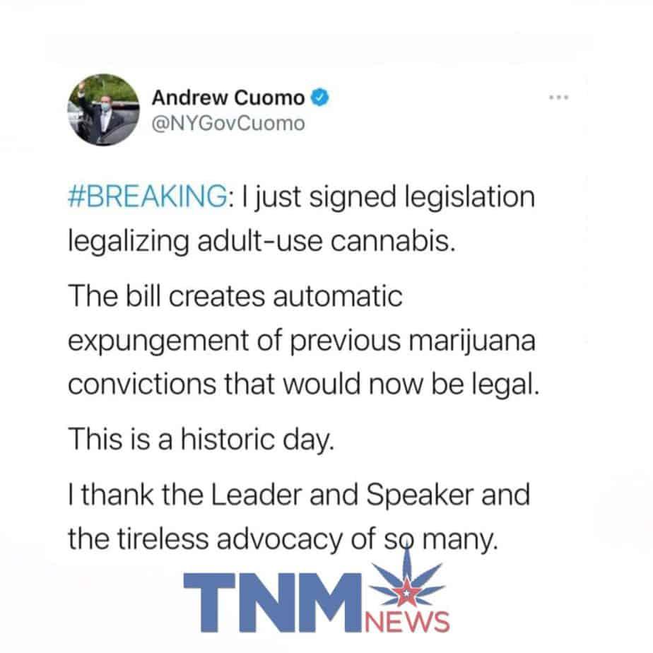 Governor Cuomo Legalizes Marijuana